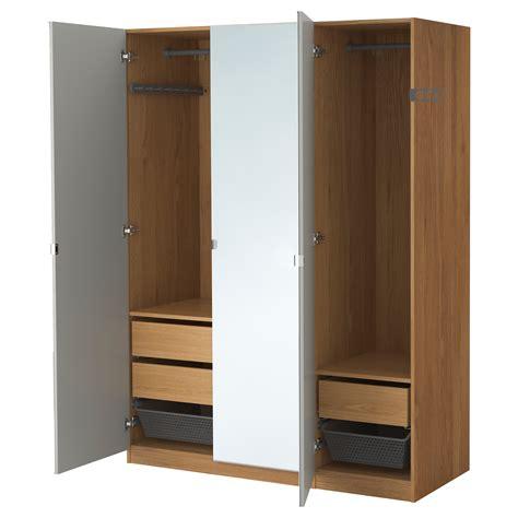schrank ikea pax pax wardrobe oak effect vikedal mirror glass 150x60x201 cm