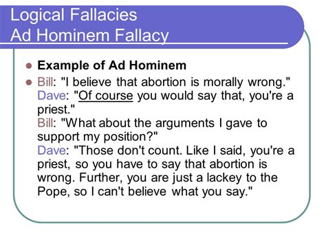 exle of logical fallacy logical fallacies ad hominem fallacy ppt