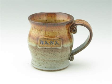 Handmade Stoneware Coffee Mugs - handmade pottery coffee mug just for nana medium 12 oz pot