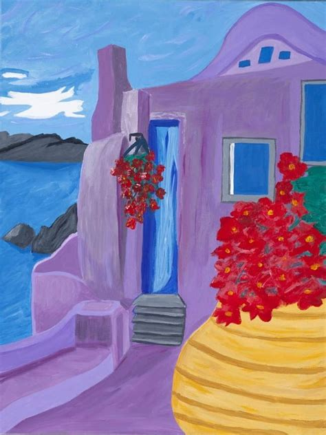 paint with a twist greece custom painting of santorini greece by inspiration