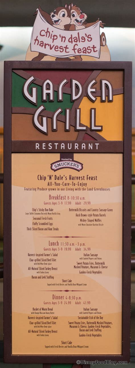 Garden Grille Menu by Review Chip N Dale S New Harvest Feast Breakfast At Epcot S Garden Grill The Disney Food