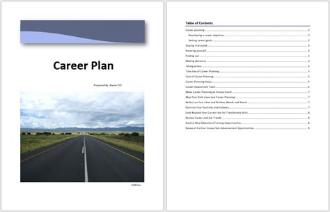 career plan template microsoft word templates