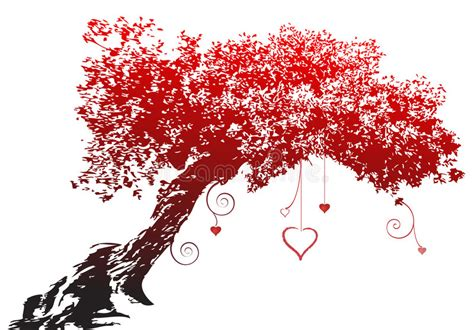 red silhouette love heart tree stock  image