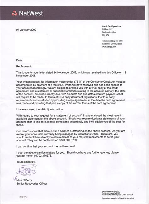 Letter Of Credit Natwest Ihpj Vs Natwest Cards Cca Request My Contribution