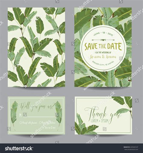 tropical card template wedding invitation card tropical flowers background stock