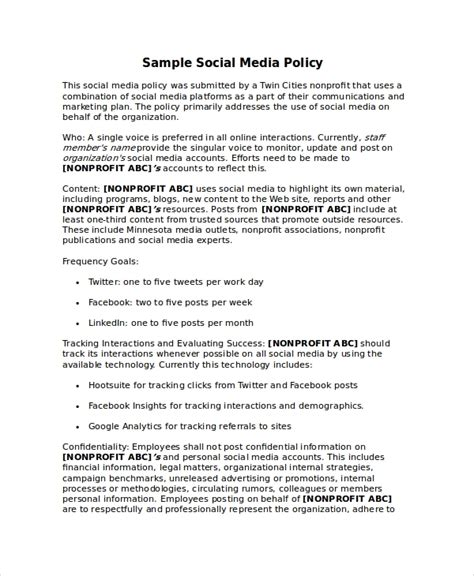 employee social media policy template policy template 10 free word pdf document downloads