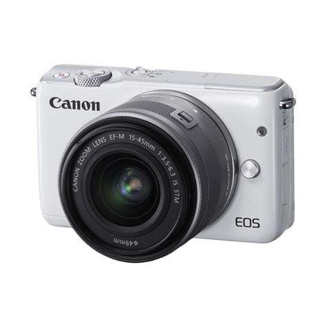 Kamera Canon Eos M10 Kit jual canon eos m10 kit 15 45mm is stm kamera mirrorless white 18 mp harga