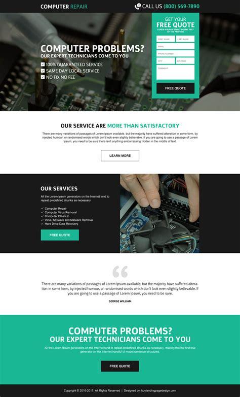 Credit Repair Landing Page Template responsive computer repair landing page design templates