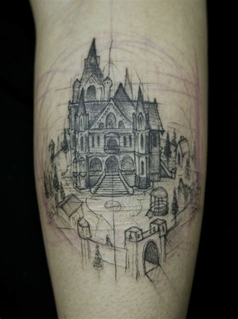 incredible ink tattoo sketched castle i just that the