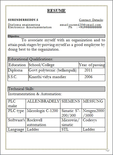 resume format 2014 in word resume co resume sle free in word doc diploma engineer with govt polytecnic