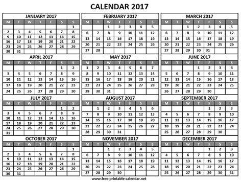 2017 Year Calendar Printable Year 2017 Calendar Print Calendars From Free