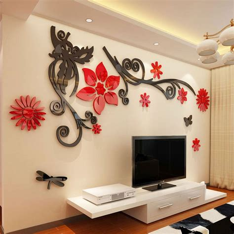Ay897 Stiker Dinding Wall Sticker aliexpress buy 3d stereo flower vine acrylic wall stickers home decor diy mirror