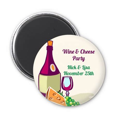 wine cheese bridal shower favors wine cheese personalized bridal shower magnet favors