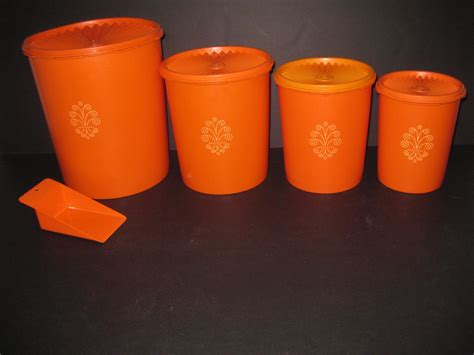 Tupperware Canister retro vintage tupperware canister set 9 pc orange by