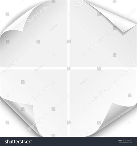 Paper Corner Fold - white paper corner folds set four stock vector 142265731