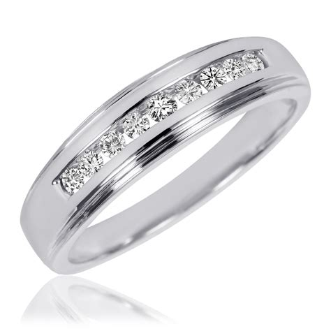3 8 carat t w his and hers wedding band set 10k