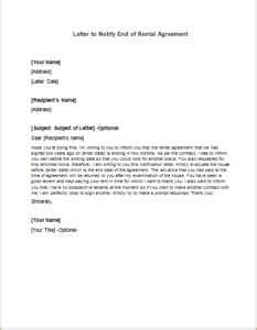 Contract End Notification Letter Letter To Notify End Of Rental Agreement Writeletter2