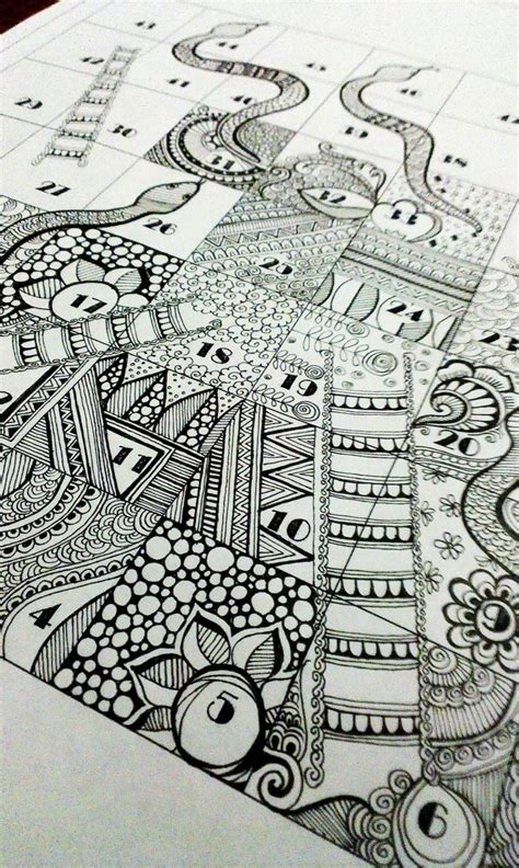 doodle series quot snakes and ladder quot for zentangle series doodle