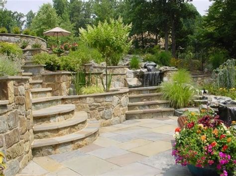Backyard Patio Landscaping Sloped Front Yard Landscape Sloping Backyard Ideas