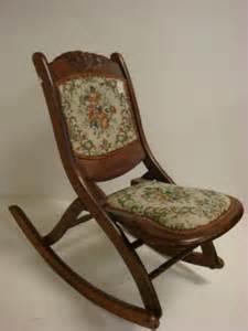 Antique Folding Rocking Chair by 241 Crest Tapestry Folding Rocker Lot 241