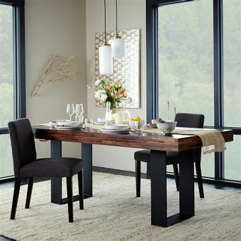 staggered wood dining table west elm