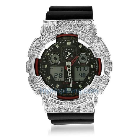 custom micro pave casio g shock ga100 custom g