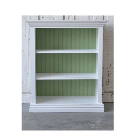 3 shelf white bookcase with molding and bead board