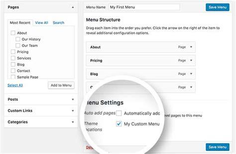 mi themes location how to add custom navigation menus in wordpress themes