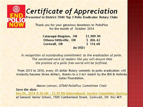 rotary certificate of appreciation template polioplus certificate of appreciation october 2014