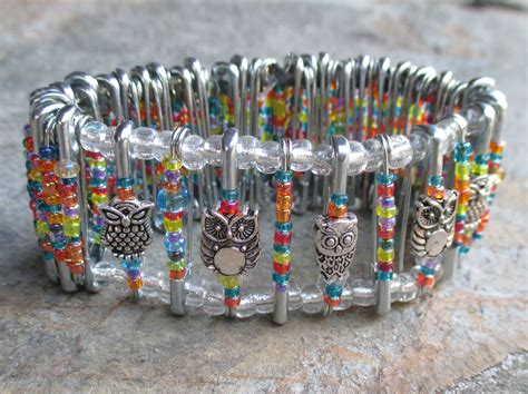 how to make beaded safety pins bracelet made from safety pins seed and owl
