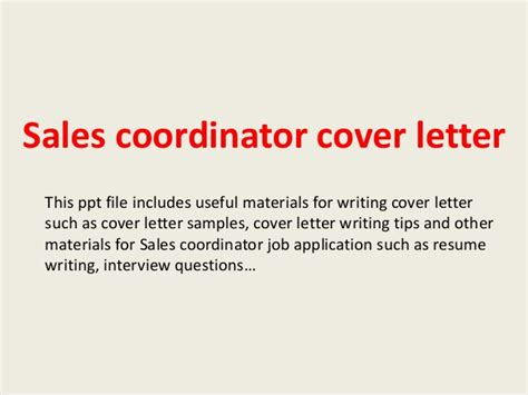 sle of best cover letter sales coordinator cover letter