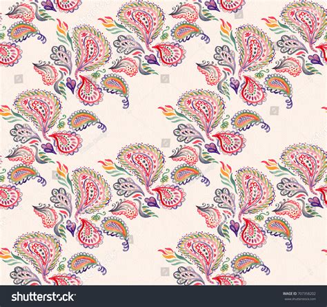 indonesian tonal pattern paisley watercolor ethnic seamless pattern indian stock