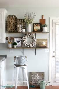 Farm House Ideas by Decorating Shelves In A Farmhouse Kitchen
