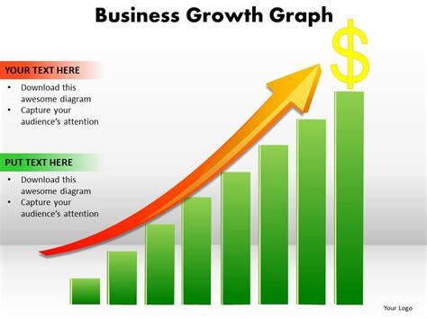 Business Growth Graph Bar Chart With Arrow Going Up And Dollar Sign Powerpoint Templates 0712 Business Graph Templates