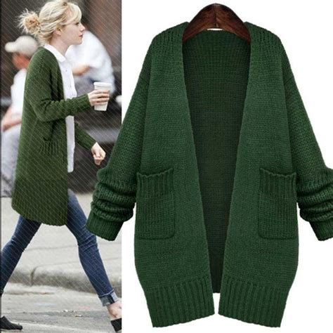 Cb240 Size M Oversize Green Gray Knit Cardigan Outerwear Branded Impor 2018 green knitted sweaters fashion sleeve pockets knitted