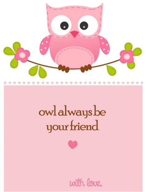 printable owl card owl valentines day card printable for children perfect