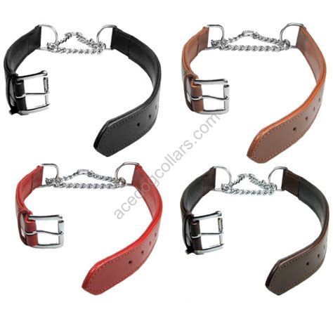 Width 1 5cm Collar adjustable padded half check leather collar small