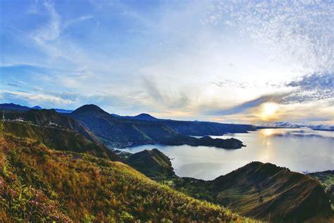 Morning Danau Toba lake toba the largest crater lake in the world capture