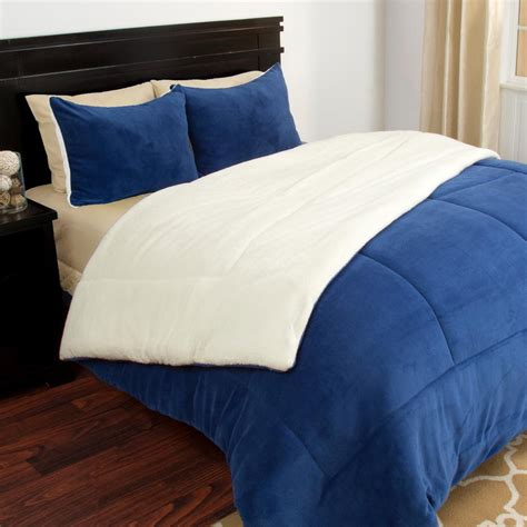 sherpa comforter twin lavish home navy sherpa fleece twin 2 piece comforter set
