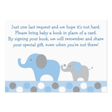 elephant template for baby shower blue elephant baby shower book request cards large