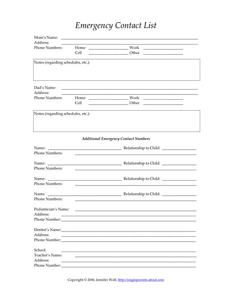 Child S Emergency Contact Form Single Parent Families In Of Emergency Form Template