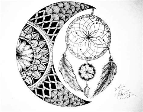 dream catcher zentangle art crescent moon dream catcher zentangle doodle