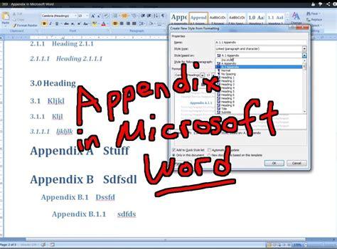automated appendix  microsoft word