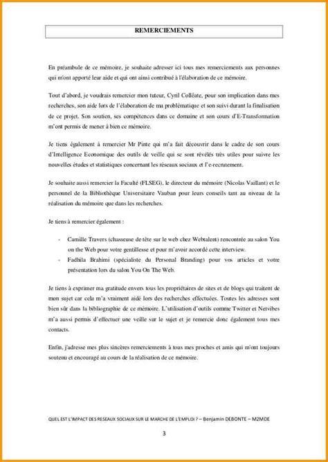 Exemple De Lettre De Remerciement Pour Mémoire Remerciements Pour Mmoire Exemple