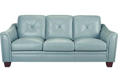 leather blue sofa cindy crawford home marcella spa blue leather sofa