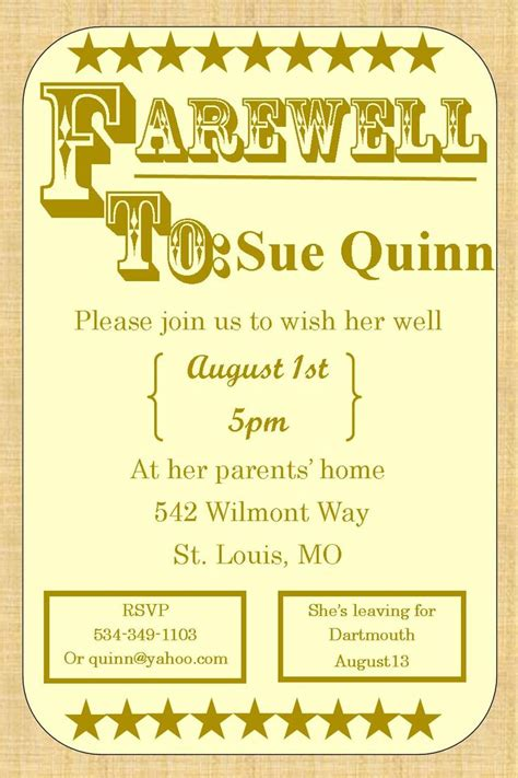 Invitation For Farewell Dinner 39 Best Images About Farewell Going Away Invitations On