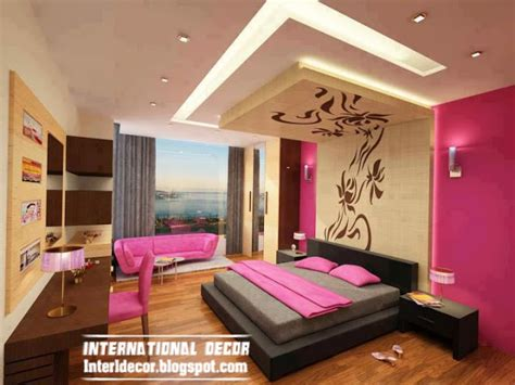 bedroom designs in pink colour suspended ceiling