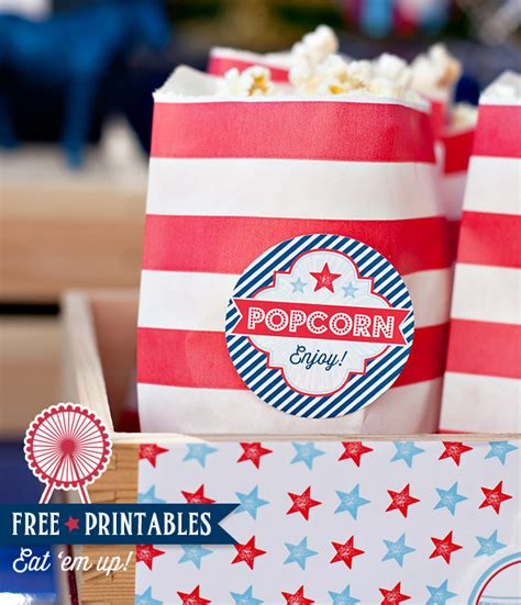 Hostess Gifts For Bridal Shower patriotic popcorn free printables red white amp blue