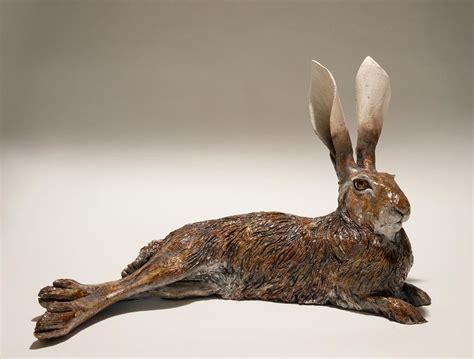 lying hare clay sculpture  nick mackman sable ox