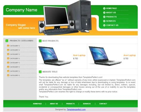 computer website templates free image gallery computer template